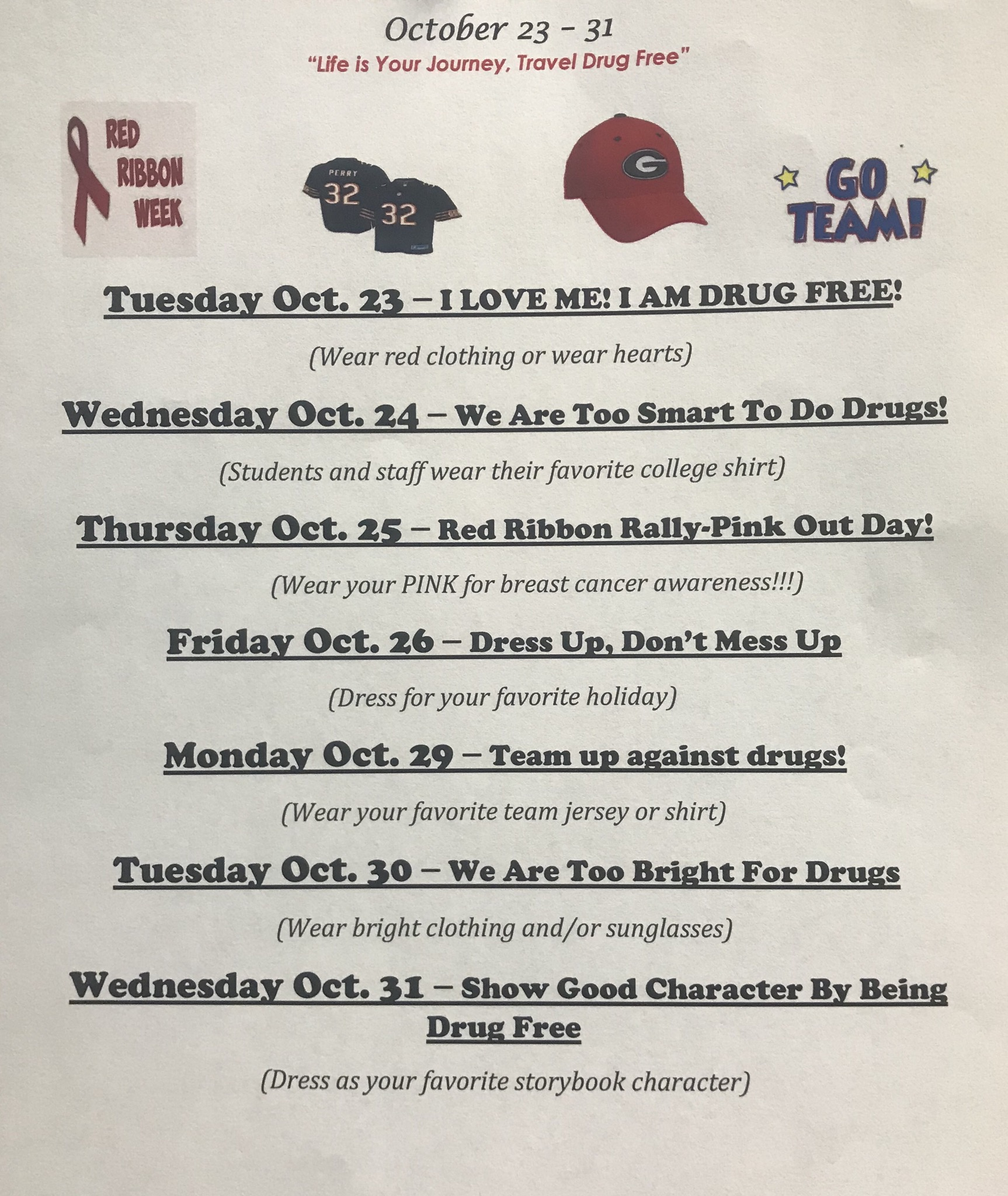 Red Ribbon Week- October 23rd through October 31st – Unity ...