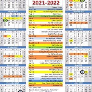 Meriwether Schools Calendar for 2021-2022