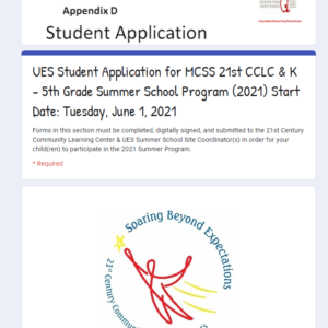Now Accepting 21st CCLC and UES Summer School Program Student Applications (Dates: June 1st through 24th)